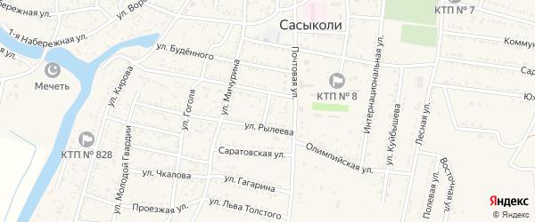 Пожарный переулок на карте села Сасыколи с номерами домов