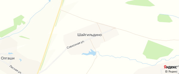 Карта деревни Шайгильдино в Чувашии с улицами и номерами домов