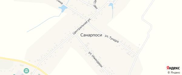 Центральная улица на карте деревни Санарпосей с номерами домов