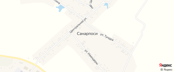 Зеленая улица на карте деревни Санарпосей с номерами домов