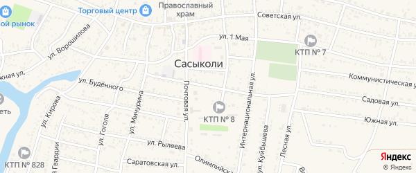 Коммунальная улица на карте села Сасыколи с номерами домов