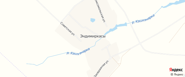 Карта деревни Эндимиркас в Чувашии с улицами и номерами домов