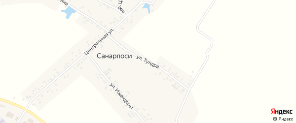 Улица Тундра на карте деревни Санарпосей с номерами домов