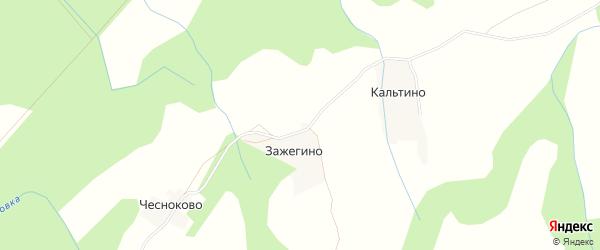 Карта деревни Зажегино в Архангельской области с улицами и номерами домов