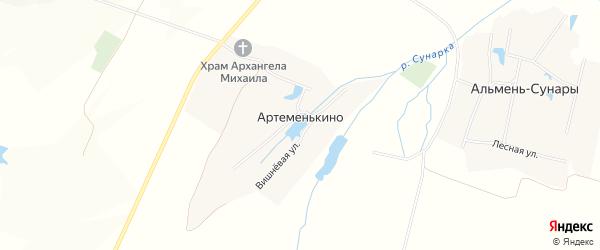 Карта села Артеменькино в Чувашии с улицами и номерами домов