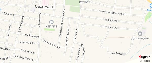 Лесная улица на карте села Сасыколи с номерами домов