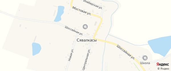 Шоссейная улица на карте деревни Сявалкас с номерами домов