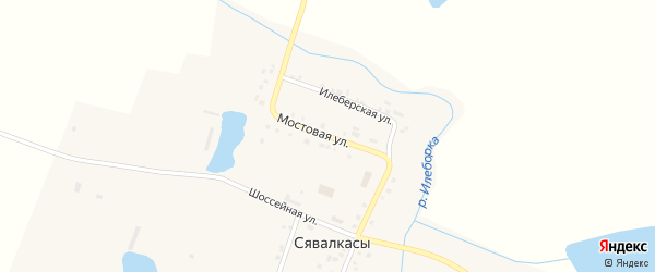 Мостовая улица на карте деревни Сявалкас с номерами домов