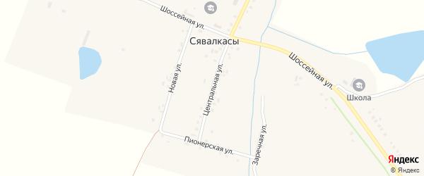 Центральная улица на карте деревни Сявалкас с номерами домов