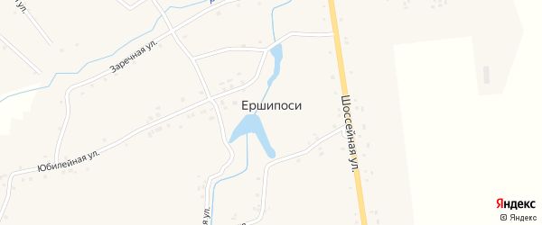 Юбилейный переулок на карте деревни Ершипоси с номерами домов