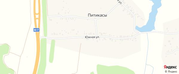 Южная улица на карте деревни Питикас с номерами домов