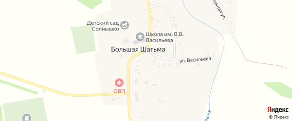 Центральная площадь на карте села Большей Шатьмы с номерами домов