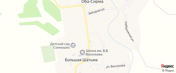 Учительская улица на карте села Большей Шатьмы с номерами домов