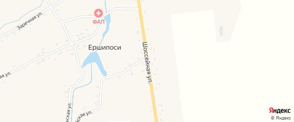Шоссейная улица на карте деревни Ершипоси с номерами домов