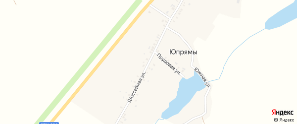 Шоссейная улица на карте деревни Юпрямы с номерами домов