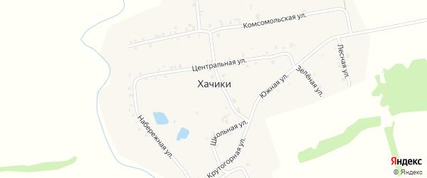 Зеленая улица на карте деревни Хачики с номерами домов