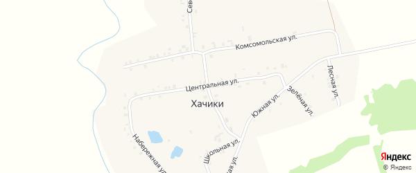 Центральная улица на карте деревни Хачики с номерами домов