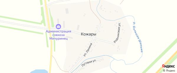 Гаражная улица на карте деревни Кожары с номерами домов