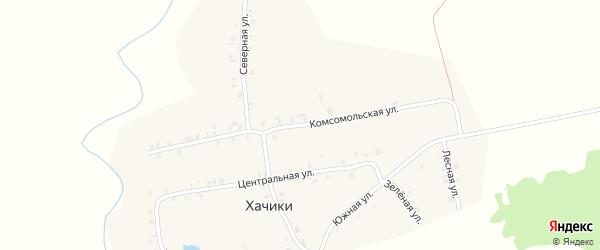 Комсомольская улица на карте деревни Хачики с номерами домов