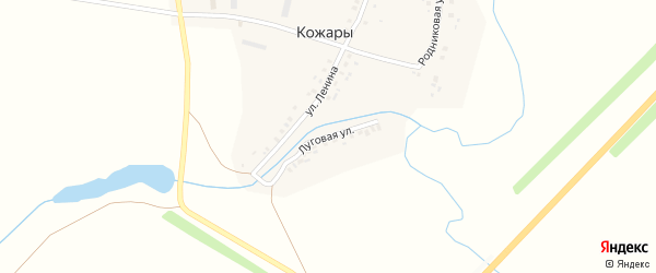 Луговая улица на карте деревни Кожары с номерами домов