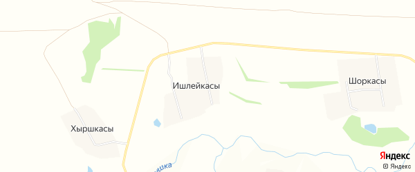 Карта деревни Ишлейкас в Чувашии с улицами и номерами домов