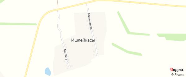 Большая улица на карте деревни Ишлейкас с номерами домов