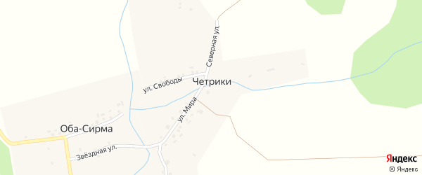 Набережная улица на карте деревни Четрики с номерами домов