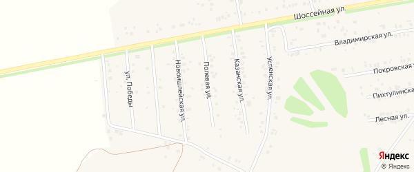 Полевая улица на карте села Ишлеи с номерами домов