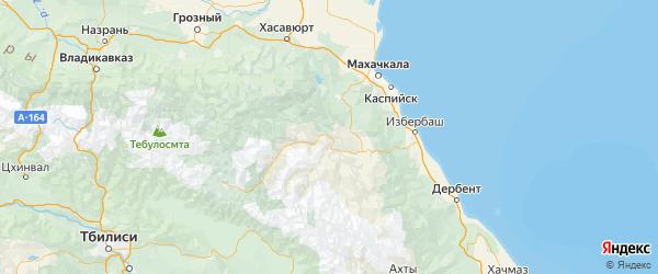 Карта Гергебильского района республики Дагестан с городами и населенными пунктами