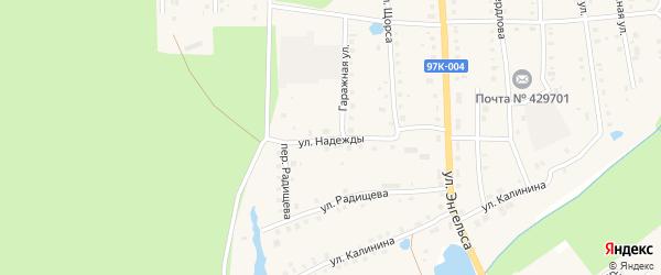 Улица Надежды на карте поселка Ибреси с номерами домов