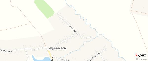 Зеленая улица на карте деревни Ядринкасы с номерами домов
