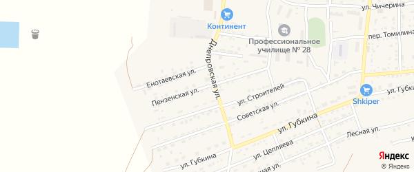 Пензенская улица на карте села Енотаевки с номерами домов