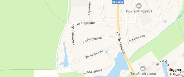 Улица Радищева на карте поселка Ибреси с номерами домов