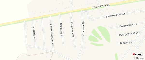 Казанская улица на карте села Ишлеи с номерами домов
