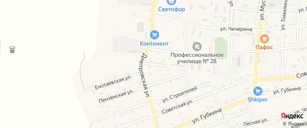 Днепровский переулок на карте села Енотаевки с номерами домов
