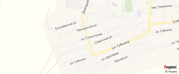 Улица Строителей на карте села Енотаевки с номерами домов
