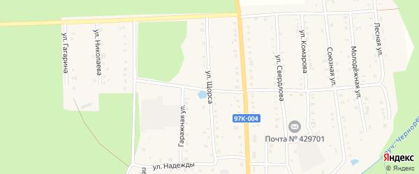 Улица Щорса на карте поселка Ибреси с номерами домов
