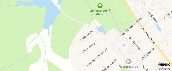 Зеленая улица на карте поселка Ибреси с номерами домов
