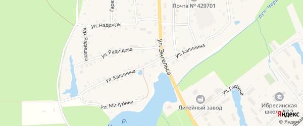 Улица Калинина на карте поселка Ибреси с номерами домов