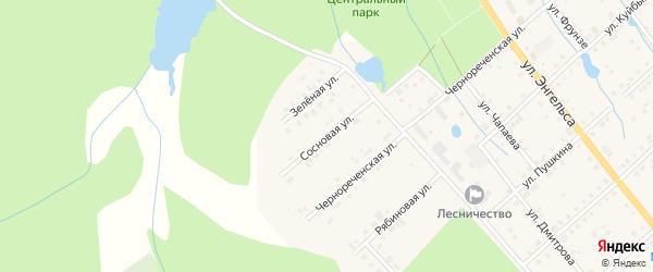Сосновая улица на карте поселка Ибреси с номерами домов