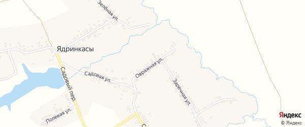 Овражная улица на карте деревни Ядринкасы с номерами домов