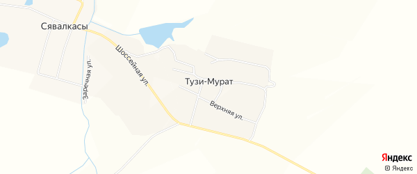 Карта деревни Тузи-Мурата в Чувашии с улицами и номерами домов