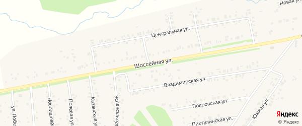 Шоссейная улица на карте села Ишлеи с номерами домов