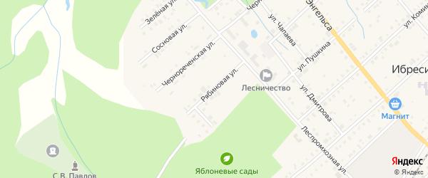 Рябиновая улица на карте поселка Ибреси с номерами домов