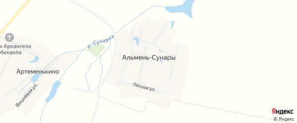 Карта деревни Альменя-Сунары в Чувашии с улицами и номерами домов