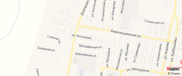 Улица Антюшева на карте села Енотаевки с номерами домов