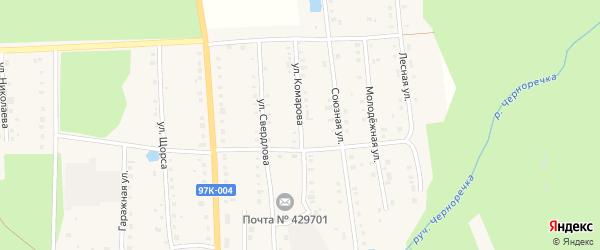 Улица Комарова на карте поселка Ибреси с номерами домов