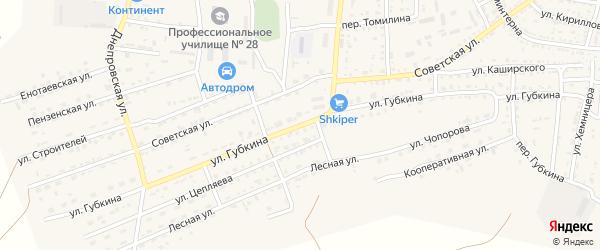 Улица Губкина на карте села Енотаевки с номерами домов
