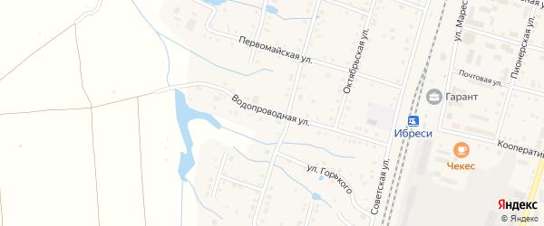 Водопроводная улица на карте поселка Ибреси с номерами домов