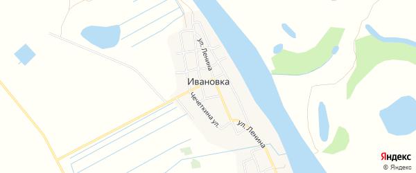 Карта села Ивановки в Астраханской области с улицами и номерами домов